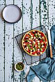 Tomato, Feta and Olive Tart with Basil Pesto