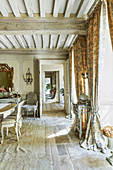 Historic room with antique furniture, Domaine Clos Lambrays, Burgundy, France