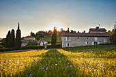 Landschaft und Gebäude, Chateau Biac, Bordeaux, Frankreich