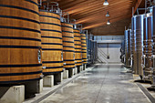 Barrel cellar, Chateau Brane-Cantenac, Margaux-Cantenac, Bordeaux, France