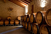 Barrique barrels, La Mondotte, Saint-Emilion, Bordeaux, France