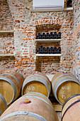 Barriquefässer, Weingut Le Pianelle, Piemont, Italien