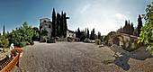 Steinhäuser und Hof, Weingut Nittardi,Maremma, Toskana, Italien