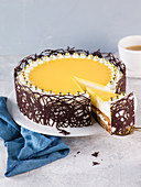 Eggnog cake, sliced
