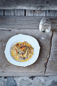 Gratinated chamois medaillons with wild mushrooms