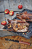 Wild goose with an apple and chestnut stuffing