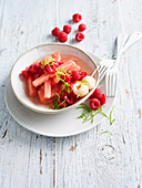 Fruit salad with watermelon, raspberries and lychee