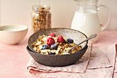 Knuspermüsli mit Nüssen, Haferflocken, Beeren und Milch