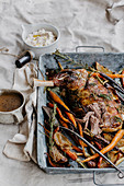 Slow-cooked lamb with white bean puree