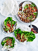 Vegan tofu larb with crisp rice papers