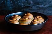 Freshly baked unglazed cinnamon rolls