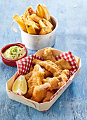 Fish fingers with homemade fries
