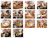 Preparing goose chestnut with liver dumplings