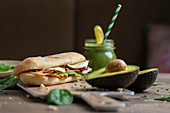 Panini with turkey and avocado, detox veggie smoothie