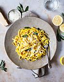 Lemon Pasta with sage