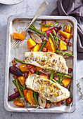 Pike perch on fennel with roasted pumpkin