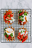 Savoury waffled with poached eggs and vegetables