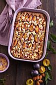 Plum pie with poppy seeds