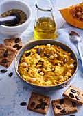Pumpkin hummus and seed crackers