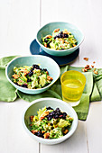 Waldorf salad with blueberries and tarragon dressing