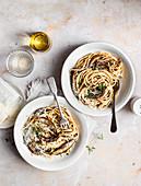 Portobello mushroom pasta with parmesan