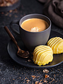 Coffee with lemon meringue sweets