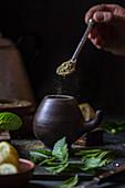 Preparing Latin American hot yerba mate