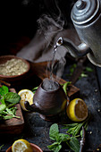 Preparing Latin American hot yerba mate