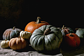 Colorful pumpkins collection different size and cultivars on linen tablecloth