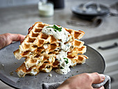 Puff pastry waffles with jalapeno and sour cream