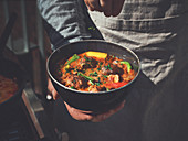Pfundstopf (meat and vegetable stew) made in a Dutch oven