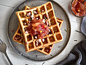 Bacon waffles with apple chutney