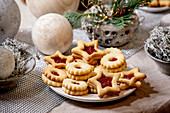 Christmas Linz shortbread cookies with red jam