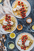 Pasta with roasted tomatoes and ricotta