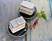 Iced vegan puff pastry cream slices