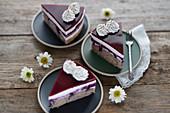 Vegan chestnut and blueberry cake with plant-based cream and fruit glaze
