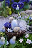 Osternest mit Ostereiern, Blüten und Feder