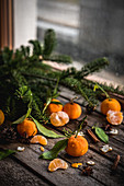 Fresh mandarins and spices