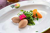 Liver mousse with colourful salad and apricot wedges