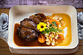 Roast Beef with Pasta and Braised Apricots