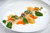 Pickled trout with crumble and apricots