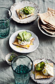 Fried cucumber with honey creme fraiche and cumin crackers