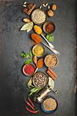 Oriental herbs and spices on dark background