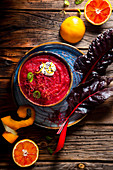Red orange and chard soup