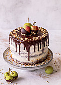 Baked apple and chocolate cake