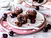 Lava Cake with cherries