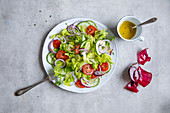 Mixed salad with tomatoes and red onions