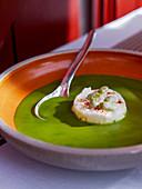 Bean soup with feta cheese