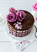 Blackberry-Rose Drip Cake