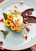 Mango ice cream with puffed spelt
